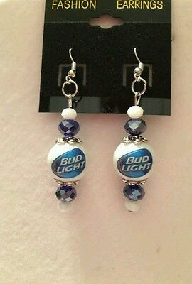 BUDLITE BEER EARRINGS BREWERY GLASS BEADED BUDWEISER  BARTENDER ORNAMENT COSTUME (Beer Glass Costume)