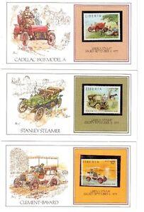 10 cartes montrant des autos anciennes plus timbres .