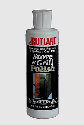 #72 RUTLAND 8 oz Stove Grill Polish Black Liquid Restore Protect Clean Cast - Stove Polish