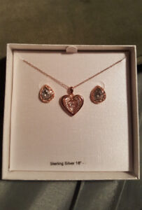 Gold-plated Sterling Silver Necklace and Earrings