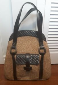 Vintage tweed leather large purse or tote thick canvas lining