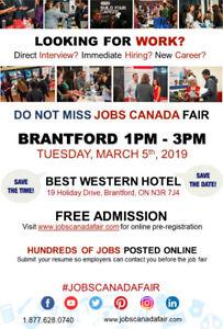 FREE - Brantford Job Fair– March 5th, 2019