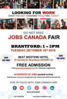 BRANTFORD JOB FAIR OCTOBER 16, 2018