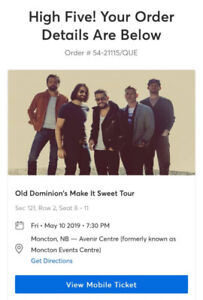 4 Old Dominion Tickets May 10 Moncton