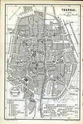 TOURNAI 1885: Baedeker Town Plan - Belgium, original old map
