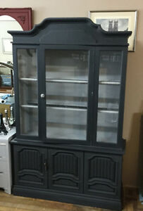 Large 2 piece display cabinet with light
