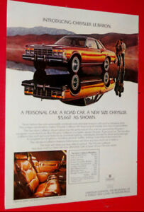 1977 CHRYSLER LEBARON COUPE VINTAGE CAR AD - ANONCE AUTO