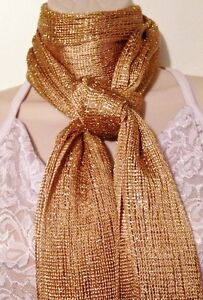 NEW BEAUTIFUL SHIMMER NECK HEAD SCARF SHAWL WRAP BELT DAZZLING GOLD WEAR ANY WAY