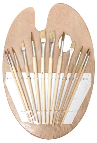 Wood Artist Painting Palette with 12 Brush Set