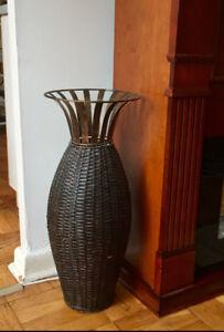 garage sale wicker floor vase