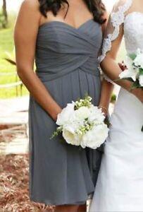 David bridal grey dress size 6