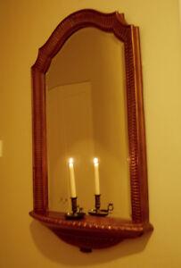 Beautiful French Gilt Wall Mirror With Shelf