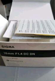 Sigma 402965 16 mm F1.4 DC DN Contemporary Sony E Lens - Black