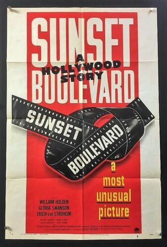 Sunset Boulevard Original Movie Poster - Swanson - Holden    *Hollywood Posters*
