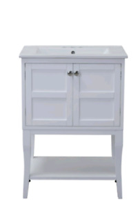 *new* white solids wood vanity with ceramic sink