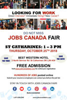 FREE: St. Catharines Job Fair - October 25th, 2018