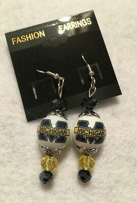 MICHIGAN EARRINGS BEADED JEWELRY COLLEGE UNIVERSITY FOOTBALL ORNAMENT WOLVERINES - College Football Ornaments