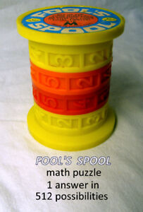 FOOL'S SPOOL, math puzzle, add to 12, 1970s vintage