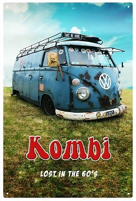 VW KOMBI 'LOST IN THE 60'S' Tin Sign 20 x 30 cm