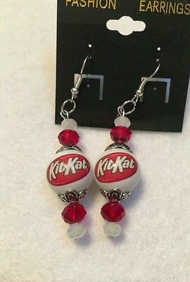 Chocolate Bar Costumes (KIT KAT CANDY BAR EARRINGS GLASS BEADED SNACK CHOCOLATE COSTUME JEWELRY)