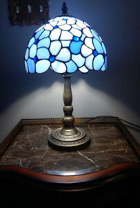 Blue Stained Glass Lamp W Brass Base by Tiffany