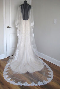 New, mantilla cathedral lace veil ivory