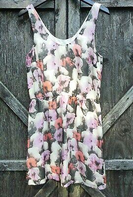 J Crew Silk Dress Print Water Color Design Lightweight Sleeveless Size  2 - Water Color Dress