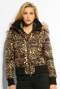 Guess Leopard Animal Print Puffer Jacket Coat Brand New