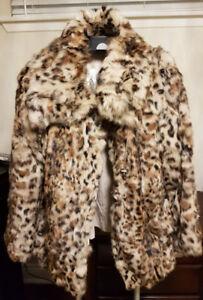 Reversible real rabbit fur coat