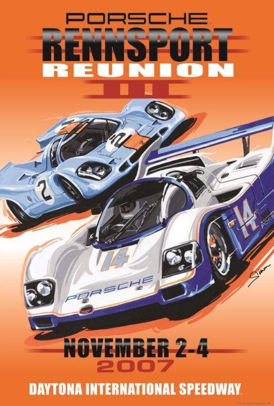 Original Vintage Porsche 2007 Rennsport Reunion III Daytona Event Poster