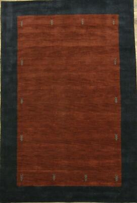 Brick Red Oriental Rug - Abstract Handmade Modern Brick Red Gabbeh Indian Oriental Area Rug Wool 7x10ft