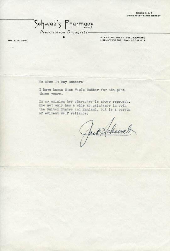JACK SCHWAB - TYPED LETTER SIGNED