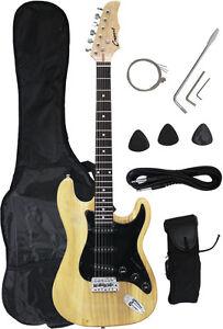 ~Sale New Crescent NATURAL Electric Guitar+Strap+Gigbag+WARRANTY