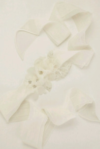 White by Vera Wang - Garza Sash with Lace Appliques
