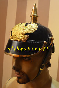 German-Leather-Helmet-Pickelhaube-Prussian-Black-Leather-Helmet-Prussian-Helmet