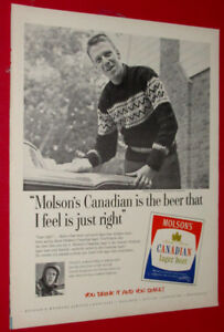 1960 MOLSON CANADIAN BEER AD WITH SURVEYOR - ANONCE BIERE 60S