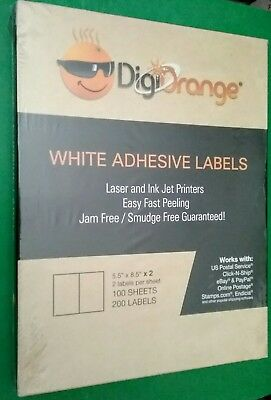 400 Digiorange Adhesive Shipping Labels 2 Per Sheet 5.5 X 8.5