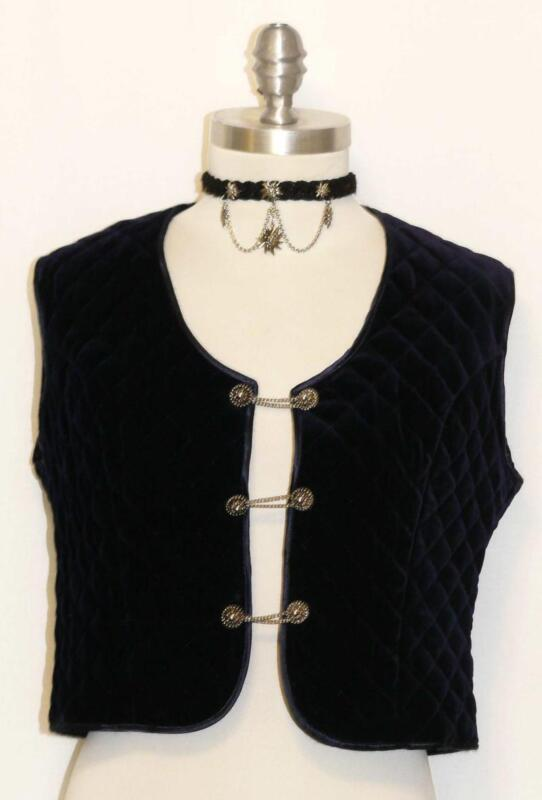 VELVET ? Dirndl Skirt Short VEST Jacket German Women SOFT Dark BLUE 6 S