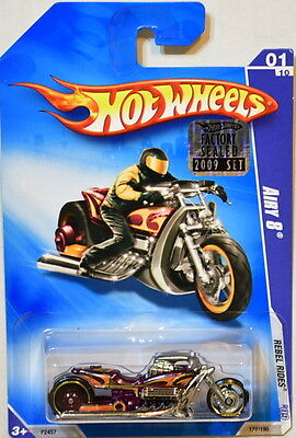 HOT WHEELS 2009 REBEL RIDES AIRY 8 #01/10 BLACK FACTORY SEALED