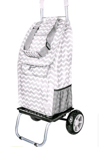 Trolley Dolly, Grey Chevron Shopping Grocery Foldable Cart