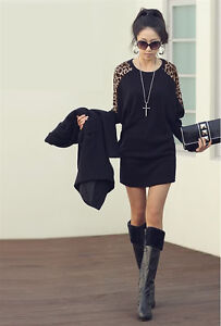Korea Fashion Womens Casual Leopard Bat Long Sleeve Top/Shirt Blouse Size8 -16