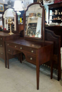 Antique Mahogany Dressing Table Vanity / Desk & Double Bed Frame