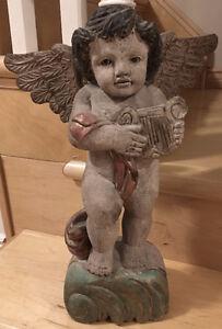 Vintage angel lawn  garden ornament - wood