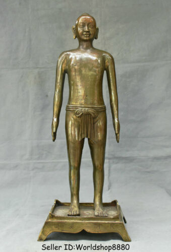 """21.6"""" Old Chinese Bronze Copper Stand Naked Man Human acupuncture point Statue"""