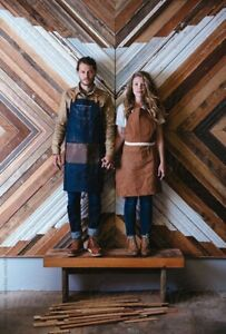 NEW UNISEX WORK SHOP APRON BROWN LEATHER & CANVAS MENS WOMENS