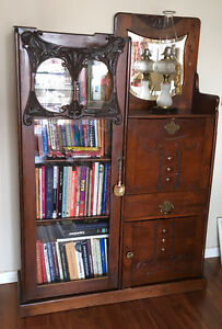 SUPERB MAHOGANY SIDE BY SIDE BOOKCASE/DESK~ EX