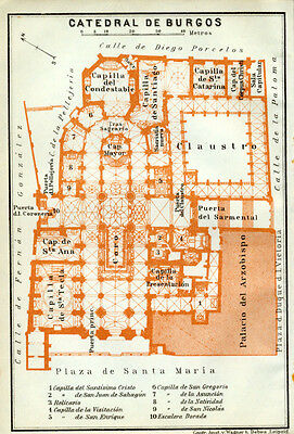 Cathedral of BURGOS : 1913 Ground Plan SPAIN old map