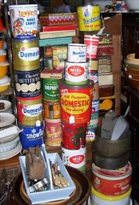 Vintage  Storage Tin Cans in shop