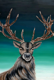Large 3D stag painting on wood 85cm x 60cm