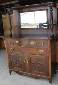 Antique Dark Stained Sideboard - Excellent Condition